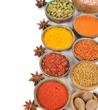 Oriental spices and seasonings. On a white background royalty free stock photography
