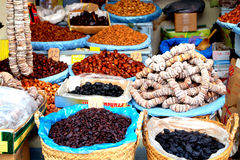 Oriental spices and seeds like saffron and chilli powder are exposed for sale Royalty Free Stock Images
