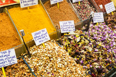 Oriental spices and tea at the Grand Bazaar in Istanbul Stock Image