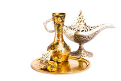 Oriental still life. Isolated on the white background Royalty Free Stock Photo