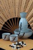 Oriental still life with sake royalty free stock photo