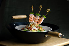 Oriental stir-fry with prawns and noodles Royalty Free Stock Image