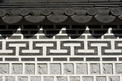 Oriental Stone Work. Architectural detail on a palace in Korea. The style is oriental, with several patterns together to form a harmonious whole stock photo