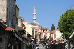 Oriental Street. With mosque in Rhodes, Greece royalty free stock photo