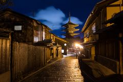 Oriental streets in Kyoto at night Royalty Free Stock Images