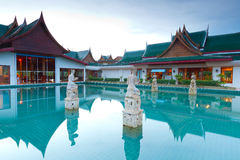 Oriental style architecture in Thailand. At sunrise Royalty Free Stock Photography