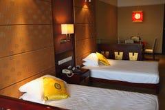 Oriental style bedroom. Oriental style resort bedroom in China Stock Photos