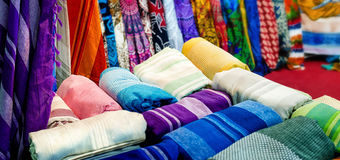 Oriental style blankets and curtains Royalty Free Stock Images