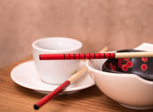 Oriental style dishes Stock Images