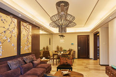 Oriental style living room dining area. Interior of  oriental style luxury living room  dining area in a chinese home Royalty Free Stock Image