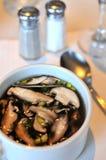 Oriental style mushroom soup Stock Photo