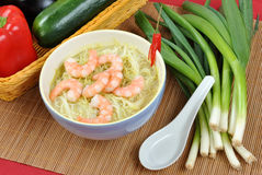 Oriental style noodle soup and shrimps Stock Photography