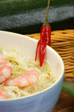 Oriental style noodle soup and shrimps Stock Image