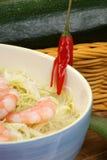 Oriental style noodle soup and shrimps Stock Image