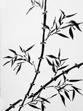 Oriental style painting, bamboo branches Royalty Free Stock Photography
