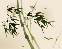 Oriental style painting, bamboo branches Stock Image