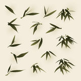 Oriental style painting, bamboo leaves Royalty Free Stock Photography