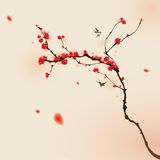 Oriental Style Painting, Plum Blossom In Spring Stock Image