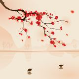 Oriental style painting, plum blossom in spring. Plum blossom above the water with birds drinking water. Vectorized brush painting Stock Images