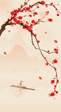 Oriental style painting, plum blossom in spring. Plum blossom painting, with fishermans boat on the river.  Vectorized brush painting Royalty Free Stock Photos