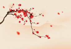 Oriental style painting, plum blossom in spring. Birds resting on the branches of plum blossom tree with hills background. Vectorized brush painting royalty free illustration
