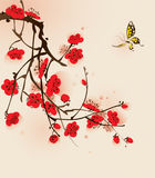 Oriental style painting, plum blossom in spring. Plum blossom and butterfly, ized brush painting vector illustration