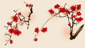 Oriental style painting, plum blossom in spring. Plum blossom flowers in two different compositions vector illustration
