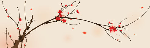 Oriental style painting, plum blossom in spring. Plum blossom, ized brush painting stock illustration