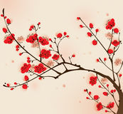 Oriental style painting, plum blossom in spring Stock Photo
