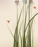 Oriental style painting, tall grasses and flowers Royalty Free Stock Photo