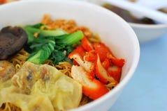 Oriental style pork dumpling noodles Royalty Free Stock Image