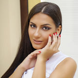 Oriental style. Sensual arabic woman model. Beautiful clean skin Royalty Free Stock Image
