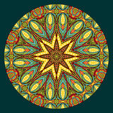 Oriental Style Symmetric Pattern. Design element with abstract bright ethnic round pattern. Tribal mandala in stained glass style. Symmetric ornament Stock Images