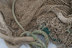 Fishing net and ropes Royalty Free Stock Photos