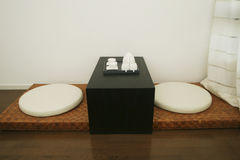 Oriental style tatami. With teatable Royalty Free Stock Photo
