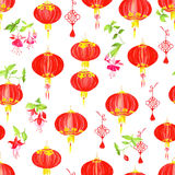 Oriental style watercolor seamless vector pattern Royalty Free Stock Images
