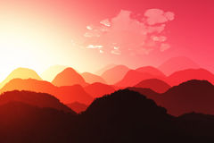 Oriental Sunset 3D render 02 Royalty Free Stock Photography