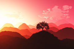 Oriental Sunset 3D render 03 Royalty Free Stock Images