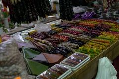 Oriental sweets Asian market spice fruit z stock photos