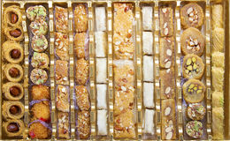 Oriental Sweets. Assorted in a golden box stock photo