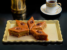 Oriental sweets baklava. On the tray Stock Photography
