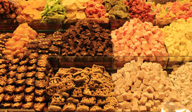 Oriental sweets at the bazaar. Delicious and healthy oriental sweets at the bazaar stock photography