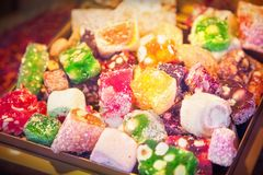 Oriental sweets. Close up of oriental sweets royalty free stock photography
