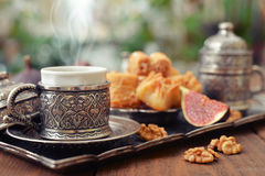 Oriental sweets with coffee Royalty Free Stock Images