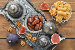 Oriental sweets with coffee Royalty Free Stock Image