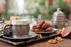 Oriental sweets with coffee Royalty Free Stock Photo