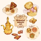 Oriental sweets colored set Royalty Free Stock Image
