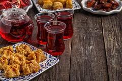 Oriental sweets with hibiscus tea. Royalty Free Stock Photos