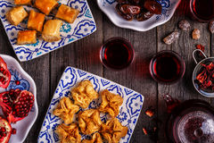 Oriental sweets with hibiscus tea. Royalty Free Stock Images