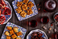Oriental sweets with hibiscus tea. Stock Photo